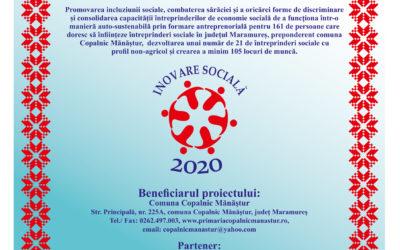 """""""INOVARE SOCIALĂ 2020"""" ID POCU/449/4/16/128363 – afiș"""